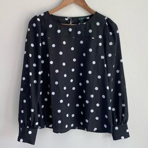 J. Crew Factory Polka Dot Boat Neck Printed Blouse
